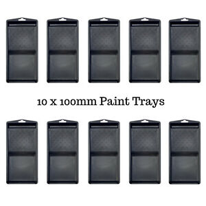 Paint Roller Cover Tray -  Harris Mini 100mm Paint Roller Trays Pack of 10 Trays