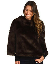 Juicy Couture Chestnut Faux Fur Cape Coat Jacket JG006430 - Size Small