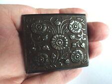 Arts & Crafts quadrato grande fibbia in acciaio FLOREALE design mozzafiato & Artigianato