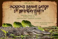 Swamp Alligator Crocodile Gator Custom Designed Birthday Party Invitation