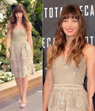 '12 MAGNIFICENT  GORGE 2die4 Oscar De La Renta tan gold sequin lace skirt dress