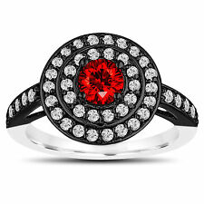 & White Gold Double Halo Unique Enahnced Red Diamond Engagement Ring 14K Black