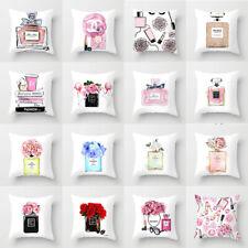 Home Sofa Cushion Cover Girls Pink Flower Perfume Bottle Pillowcase Decoration