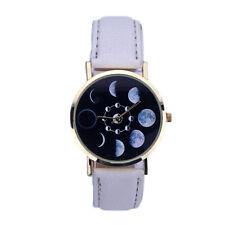 White Analog Quartz Moon Phases Eclipse Stainless Steel Wrist Watch