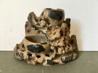 Vintage Oriental Soapstone Carved Double Inkwell, Brush Pot