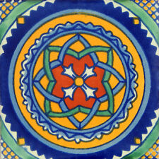 "Handmade Mexican Tile Sample  Talavera Clay 4"" x 4"" Tile C119"