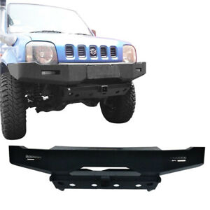 Texture Front Bumper w/Winch Plate & 2x LED Lights for 1998-2015 Suzuki Jimny