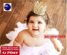 Baby Girl Kid Gold Birthday Party Crochet Tiara headband hair head band Crown