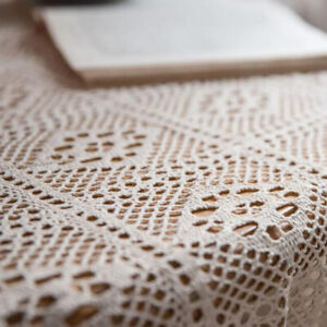 Pastoral Cotton Crochet Tablecloth Rectangle Hollow Handmade Lace Table Cloth Z
