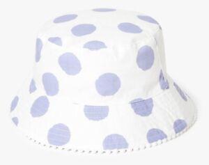 John Lewis Girls Reversible Spots & Stripes Sun Hat NEW AGE 9-12 Years