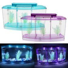 LED Light Triple Cube Betta Mini Aquarium Box Separate Breed Spawning Fish Tank
