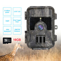 16MP 1080P Trail Camera Night Vision 0.6s Trigger Farm Scouting Cam + 16GB DVR