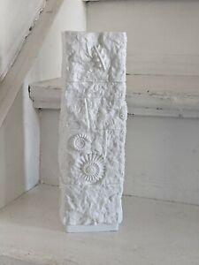 60s AK Kaiser Porzellan Biskuit Vase H 28,5 cm Dekor Fossilien Stein Vintage