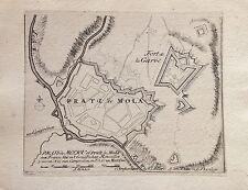 FRANCE,Prati di Mola, Rosellon, grabado original Van der Aa,ca. 1729