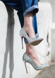 Kurt Geiger Alice Silver Glitter Court Shoes Heels, Size UK6, BNIB