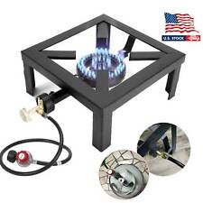 Propane LPG Gas Camp Stove Single Burner Cast Iron Outdoor BBQ Cooker Regulator