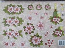 A4 3D Paper Tole Christmas Flowers Poinesttias Champagne Pictures NEW