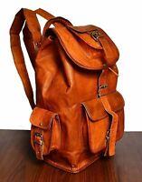 Genuine Vintage Handmade 100% Leather Backpack Rucksack travel Bag For Women's