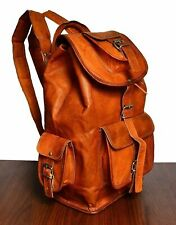 Genuine Vintage Handmade 100% Leather Backpack Rucksack travel Bag For Women's