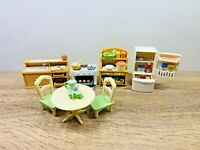 Sylvanian Families Country Kitchen Fridge Stove Oven Tea Plates Food Set