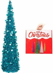 SLIM COLLAPSIBLE POP UP TINSEL CHRISTMAS TREE 150CM / 5FT BLUE XMAS DECORATION