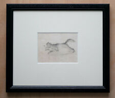 Vintage antique small drawing of a dog or wolf in pencil from 1840 - framed.