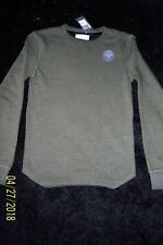 MENS GREEN AND BLACK STRIPED LONG SLEEVE TOP SIZE XS NWT