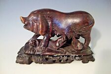 """Old Chinese Soapstone Sow w/ Piglets Figurine on Wooden Base 4 1/2"""" L x 2 7/8""""H"""