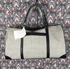 Adrienne Vittadini Studio Large White Canvas Duffle Bag With Adj/removable Strap