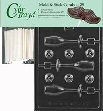 Champagne Glass Lolly Chocolate Mold w/Cybrtrayd Instructions FREE STICKS