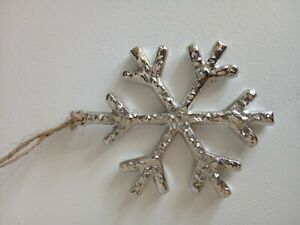 Nordic style silver metal christmas hanging dec/present topper snowflake