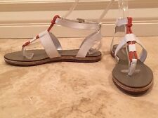 RALPH LAUREN COLLECTION White Leather Ankle Strap Orange Flat Sandals 9.5M NEW!