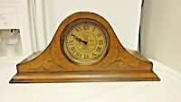 2003 Bombay Wood Mantel SHELF Clock #073-Ornate Decor Case-Runs-AS IS