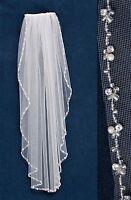 Rhinestone Pearl Edge Fingertip Bridal Wedding Veil White Ivory Diamond White