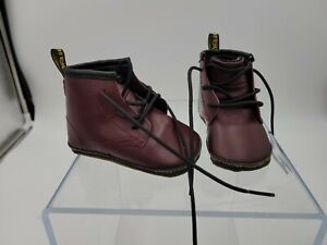 Dr Martens 1460 Auburn Leather Baby Booties Boots US 4 UK 3 Cherry Red Burgundy