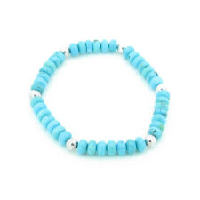 PETITE .925 Sterling Silver Natural Turquoise Beaded Stretch Bracelet