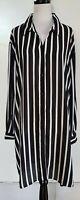 MY SIZE Black/White Stripe Shirt/Tunic/Dress Size L