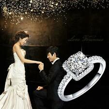 Wedding Rhinestone Crystal Zirconia Rings Silver Plated
