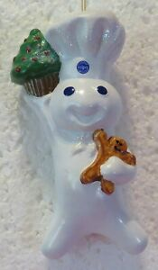 Pillsbury Doughboy Holiday Ornament with Gingerbread Man and Tree Cupcake~2001