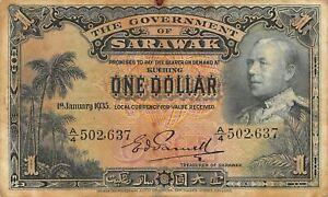 Sarawak  $1  1.1.1935  P 20  Series  A/4  Rare Circulated Banknote XYZ6