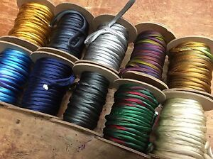 """Hand Dyed Silk Satin 1/4"""" Cord Tubing on the Bias Piping 1yd Made in USA"""