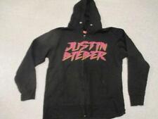 Justin Bieber black zipped hoodie top adult size pop music