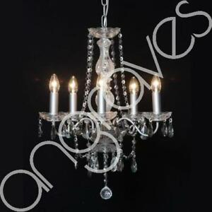 French Chateau Small 5 Branch Chandelier with Smoke Black Cystals Light Lamp