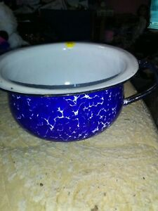 Vintage Blue And White Enameled Chamber Pot With Handle
