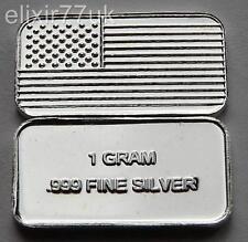 1 gramme pure 999 fine argent solide drapeau américain bullion menthe bar lingot cadeau UK