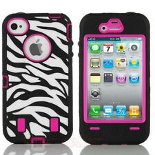 Zebra High-Impact Combo Hard Rubber - Case Bag for IPHONE 4 4S 4G Pink