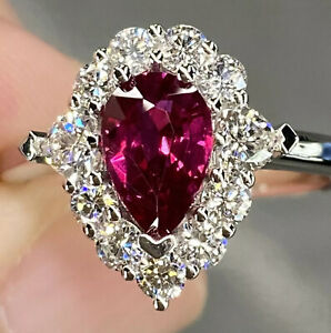 GIA 2.2 Ct Unheated Pigeon Blood Ruby &Heart Diamond Halo Ring Platinum Heirloom