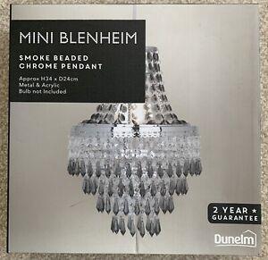 Dunelm Mini Blenheim Smoked Effect Beaded Chrome Light Pendant BOXED