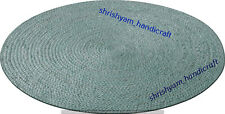 Handmade Braided Antique Indian Jute Cotton 8x8 Ft Reversible Mat Floor Rag Rug