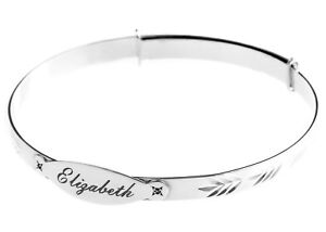 Personalised Baby Bangle ANY NAME Real Silver Christening Bracelet Real Diamonds